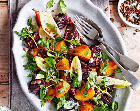 Candied beetroot salad with buttermilk dressing Photographer: Gareth Morgans