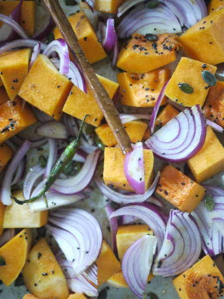 Prepped squash, ready for the oven