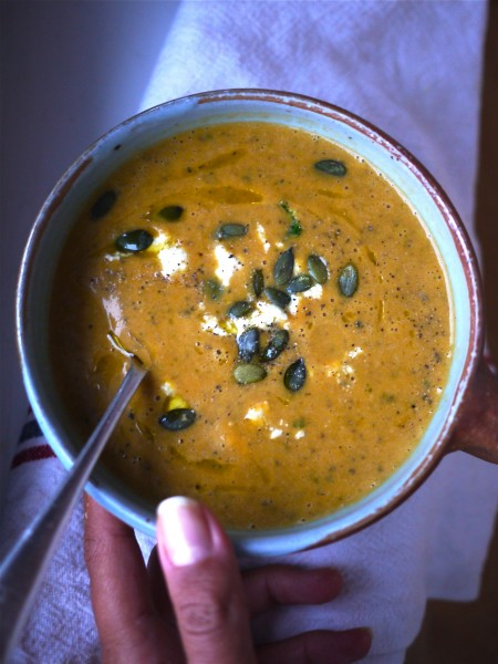 Roast squash soup with coconut and pumpkin seeds