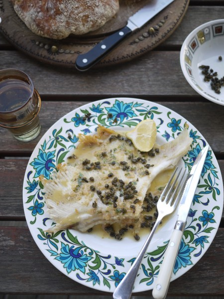 Roast skate with sherry sauce