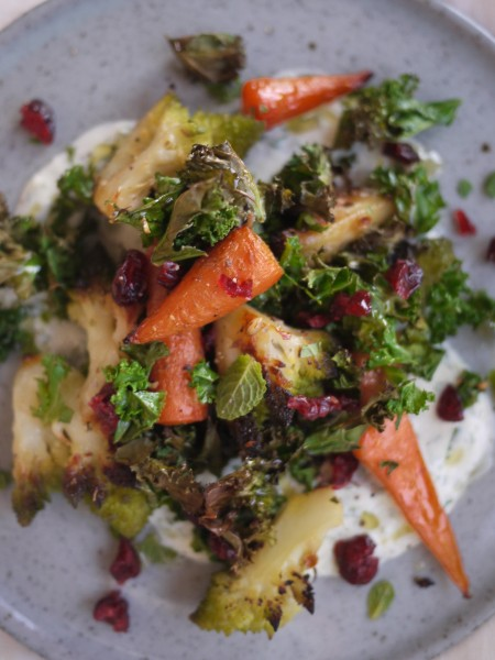 Incredible roast veg salad with a yoghurt dressing