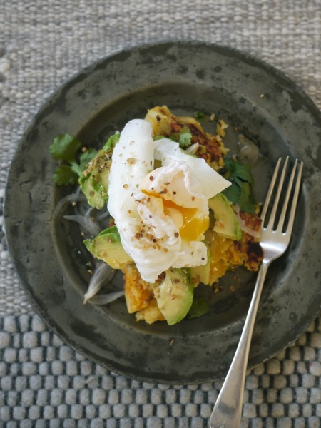 Dukkah egg and avo hash