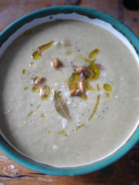 Creamy soup with a few pickled mushrooms