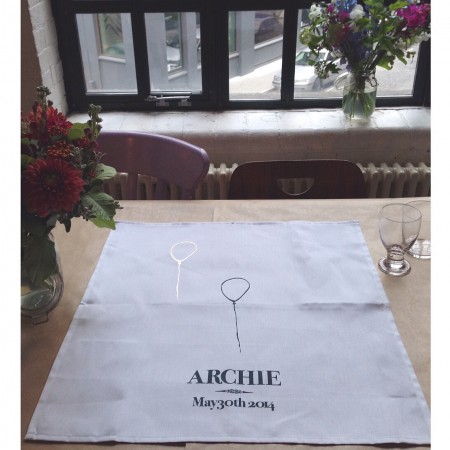 Our beautiful Archie napkins, handmade by our gorgeous friend and designer Hannah Galvin-Horne.