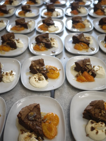 Flourless chocolate cake from Violet Bakery, with honey roasted apricots, sesame brittle and orange blossom cream