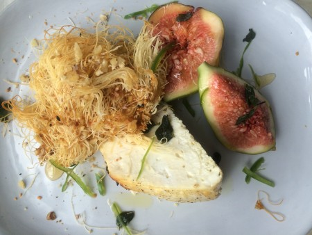 Our starter: Roasted Westcome ricotta, honey and walnut kataifi and fresh figs