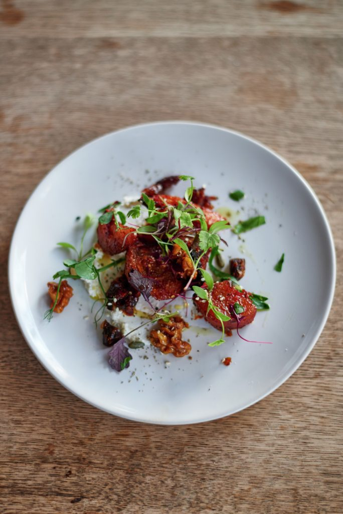 Harissa roasted carrots and beets, homemade labneh, crack nuts