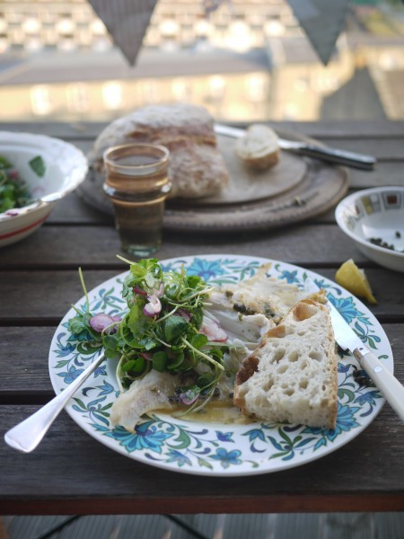 Roast skate with homemade bread to mop up the sauce and a radish and rocket salad