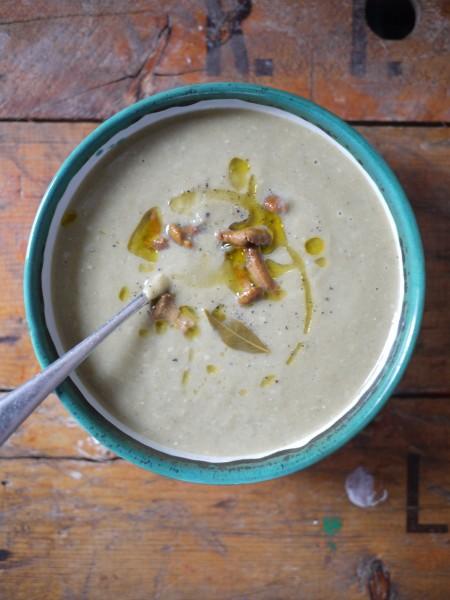 Leek, mushroom and parmesan soup