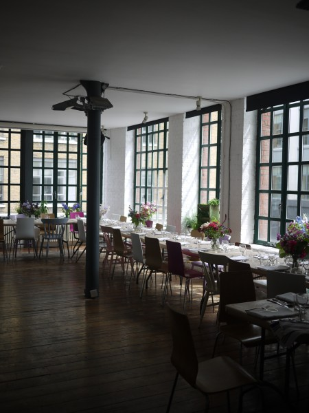 The beautiful studio above Fifteen, all set for our supper club and filled with incredible flowers from Rebel Rebel