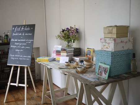 Our raffle table! Filled with generous prizes (cheeky bottle of elderflower cordial not included!)