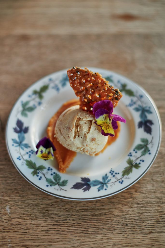 Sweetcorn ice cream, salted caramel and sesame florentine